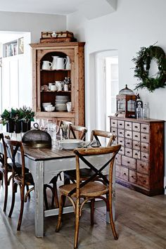 I love the table, chairs, corner cabinet and unit with the drawers.