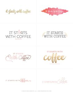 It Starts With Coffee First Concept Logos by White Oak Creative, Blog Design, Branding, Graphic Design, WordPress Design, Feminine Blog Design