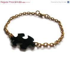 Jigsaw Bracelet, Black Laser Cut Acrylic, Gold Dainty Chain