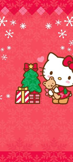 Hello Kitty Backgrounds, Hello Kitty Wallpaper, Hello Kitty Christmas, Christmas Cats, Fall Wallpaper, Christmas Wallpaper, Sanrio Wallpaper, Hello Kitty Pictures, Christmas Cartoons