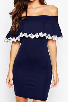 Sexy Slash Collar Half Sleeve Flounced Laciness Women's Dress Club Dresses | RoseGal.com Mobile
