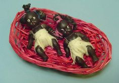 Two 1930s Black Bisque Babies in original basket - Ruby Lane