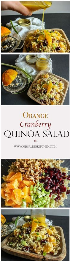 Orange Cranberry Quinoa Salad combines sweet cranberries, fresh oranges, crunchy walnuts and green onion for a healthy, gluten-free side dish.