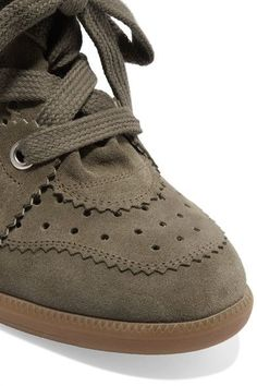 392056ced40b Isabel Marant - étoile Bobby Suede Wedge Sneakers - Army green Wedge  Sneakers