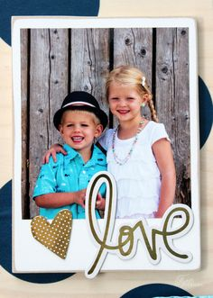 fun wooden polaroid embellished with Project life gold chipboard elements