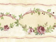 Peach Wallpaper Shabby Chic Cottage Decor Rose