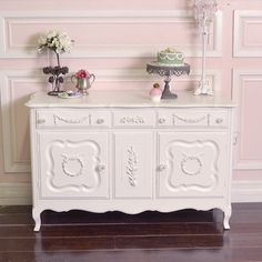 Shabby Cottage Chic Chic Rose Wreath Buffet Credenza Cabinet French Style | eBay