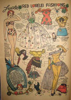 Lucky Red Lorelei Fashions, Katy Keene #36 September 1957