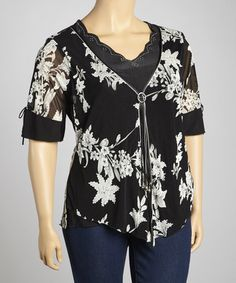 ce5fba4ce79cc9 Take a look at this Black & Taupe Sweetheart Layered Top - Plus by  Simply