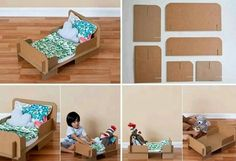 Beautiful crafty doll bed, pieced with pre-cut cardboard pieces. You could do this yourself from scrap cardboard at home! #diy #craft #kids