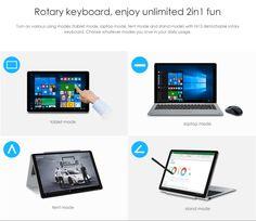 CHUWI Hi13 13.5 inch 2 in1 Tablet PC Windows 10 Intel Apollo Lake Celeron N3450 Quad Core 1.1GHz 4GB RAM 64GB ROM Dual WiFi Cameras OTG