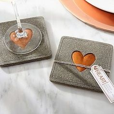 Concrete style coasters with copper hearts are charming favors for an industrial wedding. They fit right in with the table decor, too! - Concrete style coasters with copper hearts are charming favors for an industrial. Concrete Crafts, Concrete Art, Concrete Projects, Diy Projects, Concrete Texture, The Coasters, Drink Coasters, Industrial Wedding, Industrial Chic