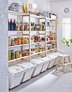 Either the price is one of the things you have to keep in mind, or not, there are enough IKEA kitchen design ideas here to inspire you into getting exactly what you want for your new or remodeled kitchen. We have found interesting takes on how you can redesign your kitchen with IKEA furniture and details, and how you can get them personalized for you to get a kitchen that feels more yours than something out of a catalog. Go ahead and take a look at the outstanding ideas we put together for you. Ikea Pantry, Small Pantry, Pantry Storage, Kitchen Pantry, Kitchen Storage, Extra Storage, Food Storage Rooms, Pantry Cabinets, Garage Storage