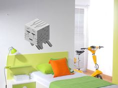 minecraft stickers for walls | Reusable Removable Minecraft GHAST Wall Decals Wall Sticker