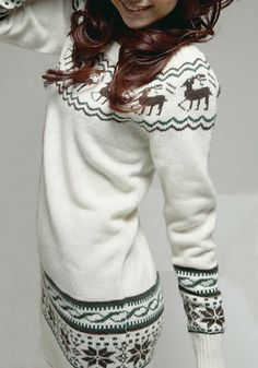 White Print Long Sleeve Wrap Knit Sweater
