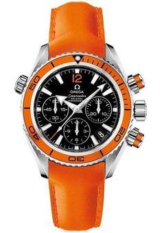 Omega Seamaster Planet Ocean Chrono - Steel on Orange Leather. I friggin LOVE Omegas. Omega Seamaster Planet Ocean, Omega Seamaster Black, Omega Planet Ocean, Omega Speedmaster, Dream Watches, Fine Watches, Luxury Watches, Cool Watches, Watches For Men