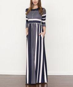 Loving this Navy Stripe Maxi Dress on #zulily! #zulilyfinds