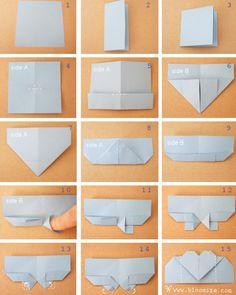 Tutorial de origami para presente: faça um coração marcador de livro com papel e seus dons de dobradura ;)