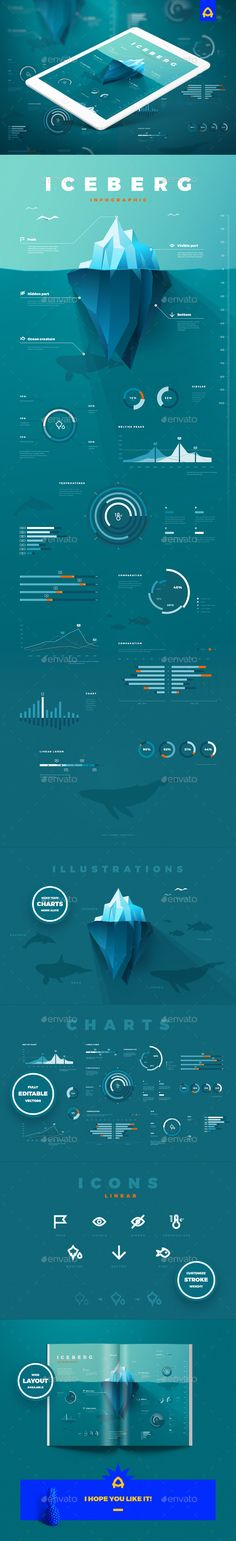 Iceberg infographic - #Infographics Download here:  https://graphicriver.net/item/iceberg-infographic/20439770?ref=alena994