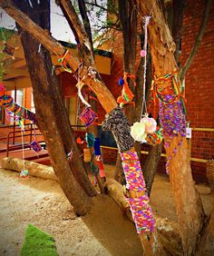 St Liborius PS in Eaglehawk, Bendigo. Children play in this great outdoor sensory area! Fantastic yarn bombing! ≈≈