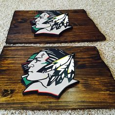 Two more Fighting Sioux ready for shipping. This has been quite the popular item. I honestly didn't think it would be, but when I searched the Internet for UND plaques, I found there are no plaques available but mine for the most part. Thanks UND fans!