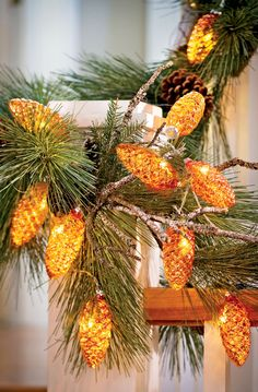 We just love these LED Pinecone String Lights. 10 mercury glass pinecones on a battery-operated string.