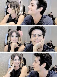 Shelley Hennig and Dylan O'Brien Teen Wolf Dylan, Teen Wolf Stiles, Teen Wolf Cast, Dylan O'brien, Stiles And Malia, Malia Hale, Vampire Diaries Poster, Teen Wolf Memes, Shelley Hennig
