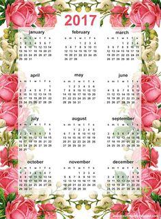 Free printable 2017 rose calendar - ausdruckbarer Kalender - freebie | MeinLilaPark