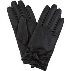 Knot Faux Leather Gloves - *FINAL SALE* ($10) ❤ liked on Polyvore featuring accessories, gloves, black, palm gloves, fleece lined gloves, black faux leather gloves, vegan gloves and long gloves