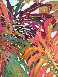 Dyes and wax on silk. This silk painting is mounted on gallery wrap canvas and is ready to hang! / Monstera palm leaves in imaginative colors make intricate patterns against the light. • Buy this artwork on home decor, stationery, and bags.