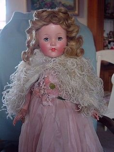 EFFANBEE USED VINTAGE COMPOSITION MINT ANNE SHIRLEY LITTLE LADY DOLL IN ORIG BOX