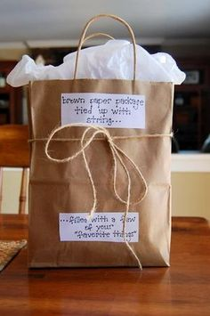 Brown paper package, tied up with string, filled with a few of your favorite things!) Brown paper package, tied up with string, filled with a few of your favorite things! Easy Teacher Gifts, Teacher Appreciation Gifts, Teacher Gift Baskets, Birthday Gift For Teacher, Handmade Teacher Gifts, Birthday Ideas, Basket Gift, Sister Birthday Gift, Gift Ideas For Teachers