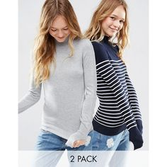 ASOS Jumper With Turtle Neck in Stripe in Soft Yarn 2 Pack (£32) ❤ liked on Polyvore featuring tops, sweaters, multi, polo neck jumper, polo neck sweater, turtle neck jumper, striped turtleneck and asos jumper