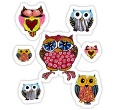 'Owl Collage' Sticker by Cherie Roe Dirksen Free Facebook, Facebook Timeline, Little Critter, Owl, Collage, Stickers, Pattern, Pictures, Photos