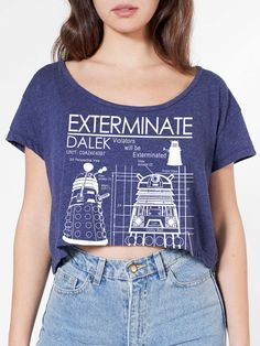 Exterminate Loose Crop Top American Apparel One Size