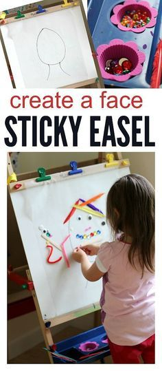 create a face sticky easel activity for preschool