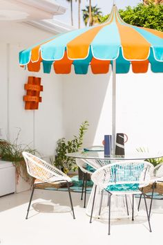 on this patio escape in Palm Springs complete with a bright, funky orange and blue color palette and Acapulco chairs. Outdoor Wicker Patio Furniture, Patio Furniture Cushions, Awnings For Sale, Blue Patio, Fireplace Garden, Outdoor Patio Umbrellas, Home Decor Store, Summer Design, Acapulco
