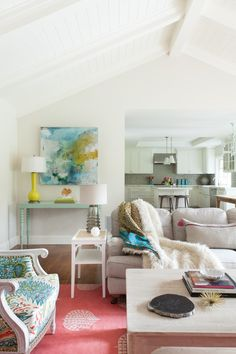 Decorist Elite Designer Nest Design's beautiful living room makeover featured in House of Turquoise. Get your own affordable online interior design service with Nest Design on Decorist https://www.decorist.com/designers/69812/nest-design/