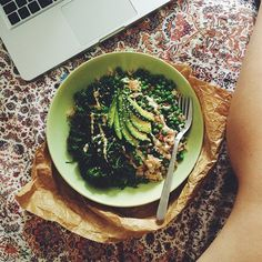 Brown rice, petit pois, loads of tenderstem broccoli topped with avocado, sesame seeds and tahini lemon dressing
