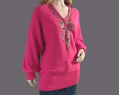 Vintage Sweater 80s Hot Pink Tunic Sparkly by vintagedaisydeb, $35.00