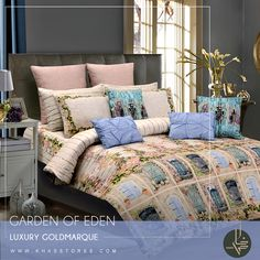 GARDEN OF EDEN Bring the romance of the garden side to your bedroom with delicate floral shabby chic. Shop Now:https://goo.gl/rmUQ22 #khasstores #bedset #home #gardenofeden #newarrivals