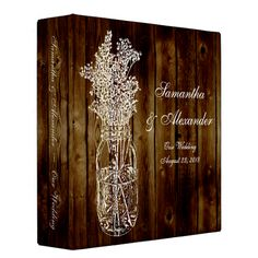 Mason Jar Stamp on Dark Wood Plank Vinyl Binders binders albums binders