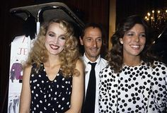 Princess Caroline of Monaco, a member of the Grimaldi family, with model Jerry Hall and Marc Bohan in 1985 in Paris, France. Princess Caroline married Ernst August V, Prince of Hanover in 1999 and is also titled as Caroline, Princess of Hanover. She will be celebrating her 50th birthday on January 23rd.