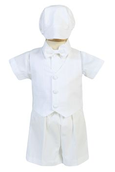 9406e50dd489d5 NEW Cotton Vest   Shorts 5 Pc Christening Outfit with Light Plaid Pattern  Vest (Baby