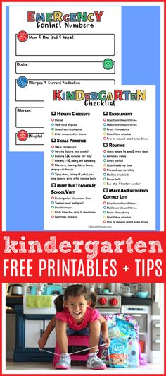 ad Kindergarten Tips for Parents + FREE Checklist Printable  amp   Emergency Contact Form - 0d13d74fe