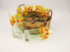 Eight Bright and Cheery Yellow and Red Tulip Glasses - Jane Lynn Design - Rattan Holder Made in the Phillippines - 12 Oz. Glasses