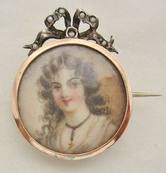 GEORGIAN MINIATURE HAND PAINTED CAMEO SILVER PEARL BROOCH..circa 1797