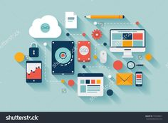 Flat Design Vector Illustration Concept Of Computer And Connected Mobile Devices With Links Of Transmission Information On Various Data Storage And Cloud Computing Service On Stylish Background. - 155528621 : Shutterstock