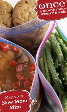 New Mom Mini Menu 2013 - Once A Month Mom  Two great freezer meals to bless new moms! Complete meals with main dish, a side and dessert, and printable grocery list, recipes, and step-by-step instructions.