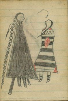 Plains Indian Ledger Art: Wild Hog Ledger-Schøyen - COURTING: A Woman in Third Phase Navajo Chief's Blanket Stands with Man in Black Skunk Blanket